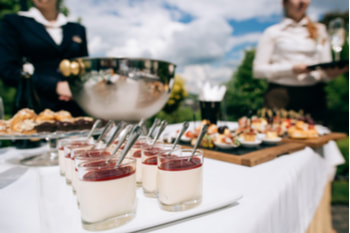 Picture of catering services in restaurant outdoor on wedding ceremony in the park. Food and glass of champagne